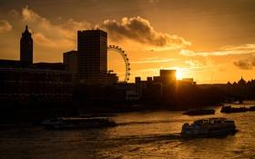 Картинка облака, закат, город, река, Англия, Лондон, здания