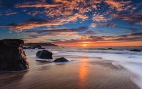 Картинка море, небо, облака, закат, горы, камни, скалы
