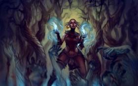 Обои лес, деревья, магия, женщина, арт, демоны, мертвецы
