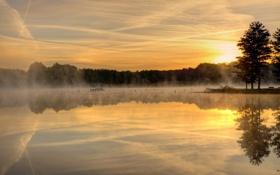 Картинка пейзаж, закат, озеро
