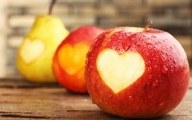 Обои капли, яблоки, сердце, фрукты, сердечко, груши