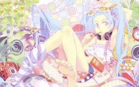 Картинка аниме, vocaloid, наушники, Hatsune Miku, вокалоид, девушка