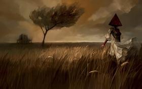 Обои поле, девушка, дом, дерево, арт, пирамида, пугало