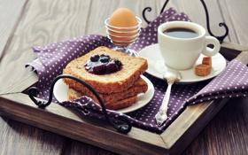 Обои яйцо, кофе, еда, завтрак, хлеб, ложка, сахар