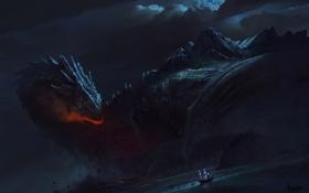 Обои море, ночь, дракон, корабль, парусник, арт, гигантский