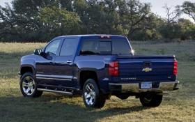 Картинка авто, синий, Chevrolet, грузовик, вид сзади, пикап, Crew Cab