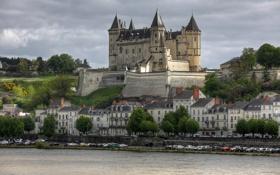 Обои авто, машины, Франция, здания, набережная, France, Château de Saumur