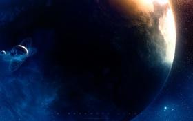 Обои планета, спутник, кольца