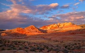 Обои закат, горы, скалы, небо