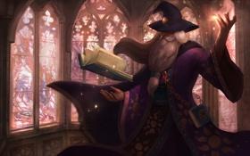 Обои книга, волшебник, магия, борода, мерлин, шляпа