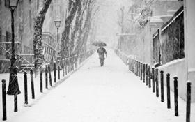 Картинка зима, снег, город, Франция, Париж, человек, зонт