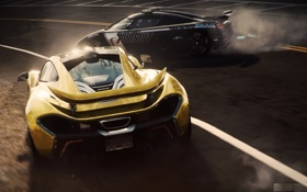 Обои гонка, Koenigsegg, суперкары, McLaren P1, Need for Speed Rivals, занос.дарога
