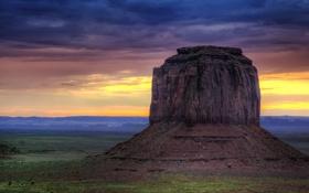 Обои долина монументов, облака, пустыня, рассвет, юта, Navajo Nation