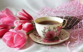 Обои розовый, чай, чашка, тюльпаны