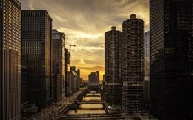 Картинка небоскребы, вечер, Чикаго, Америка, мосты, сша