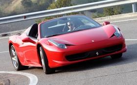 Картинка дорога, Ferrari, автомобиль, Spider, 458 Italia, открытый верх