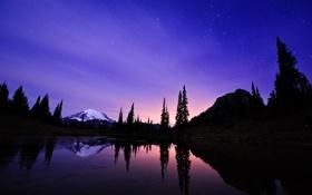 Обои небо, звезды, ночь, озеро, гора