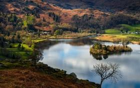 Картинка деревья, горы, озеро, остров, дома, склон