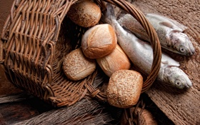 Обои булочки, корзина, хлеб, рыба