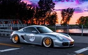 Обои Porsche, Cayman, Car, Front, Sunset, Sport, Stance