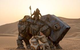 Обои пришельцы, робот, Daisy Ridley, Star Wars, Звёздные Войны, Эпизод VII, The Force Awakens
