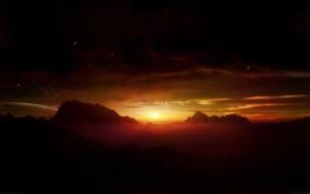 Обои горы, фантастика, ораньжеый закат