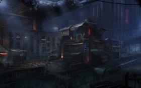 Картинка ночь, мост, город, бар, арт, руины, отель