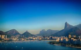 Картинка лодки, залив, Бразилия, Рио-де-Жанейро, Корковадо, Христа, Muntains