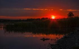 Картинка небо, озеро, рассвет, Природа, отражение в воде, пезаж, рассветное небо