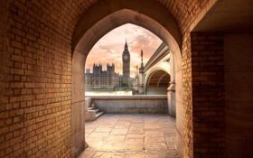 Обои Вестминстерский мост, закат, Лондон, Великобритания, Биг-Бен, Темза