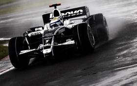 Обои дождь, поворот, формула 1, трек, formula 1, williams, гоночный болид