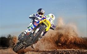 Обои небо, пыль, занос, мотоцикл, мотоциклист, Дакар, dakar