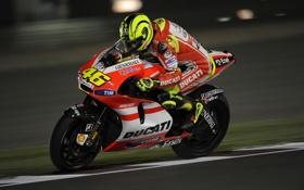 Обои Скорость, Гонка, Мотоцикл, Трасса, Ducati, MotoGP, Valentino