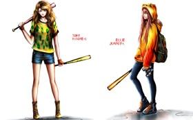 Картинка шорты, Девушки, бинокль, рюкзак, биты