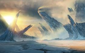 Обои пейзаж, глыбы, скалы, рассвет, вода, море, concept art