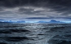 Обои облака, пасмурно, море