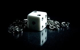 Обои кубик, цепь, отражение, куб, игра