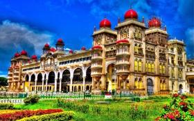 Обои трава, город, краски, колонны, индия, архитектура, дворец