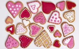 Обои печенье, сердечки, love, выпечка, hearts, valentines, глазурь