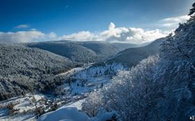 Обои winter, clouds, snow, village, Mountains