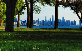 Картинка лето, трава, деревья, парк, USA, чикаго, Chicago