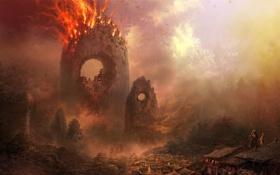 Картинка город, люди, пожар, скалы, огонь, дома, отверстие