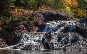 Обои осень, каскад, Michigan, Great Conglomerate Falls