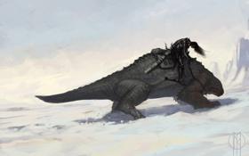 Обои снег, монстр, арт, ящер, всадник