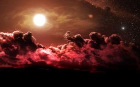 Картинка облака, звезды, фантастика, солнце, красный