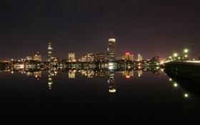 Картинка вода, ночь, мост, город, огни, дома, высотки