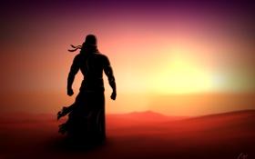 Обои закат, пустыня, рисунок, человек, силуэт