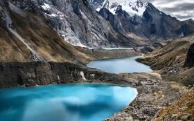 Обои природа, камни, горы, озера, снег