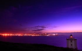 Обои море, закат, город, маяк, Испания, Galicia, Mera