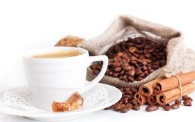 Картинка кофе, корица, кофейные зерна, салфетка, карамель, мешочек